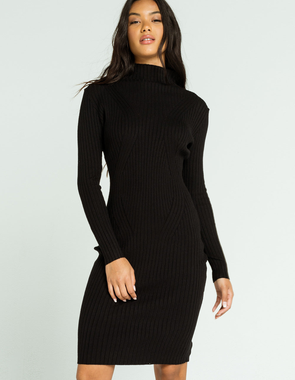 TIMING Mock Neck Sweater Dress