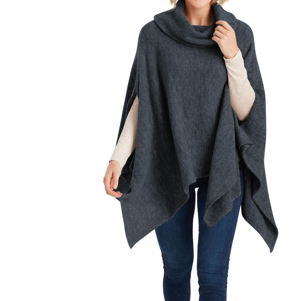 Navy And Gray Marled Turtleneck Sweater Poncho by World Market