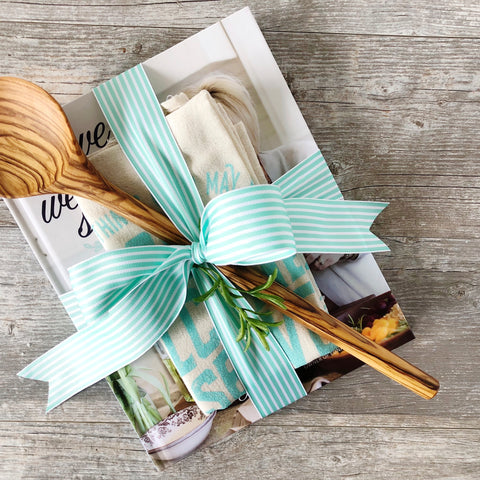 """Love Welcome Serve"" Gift Set {cookbook, linen & utensil}"