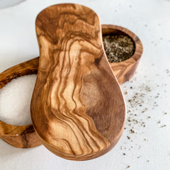 Olive Wood Salt and Pepper Pinch Pot