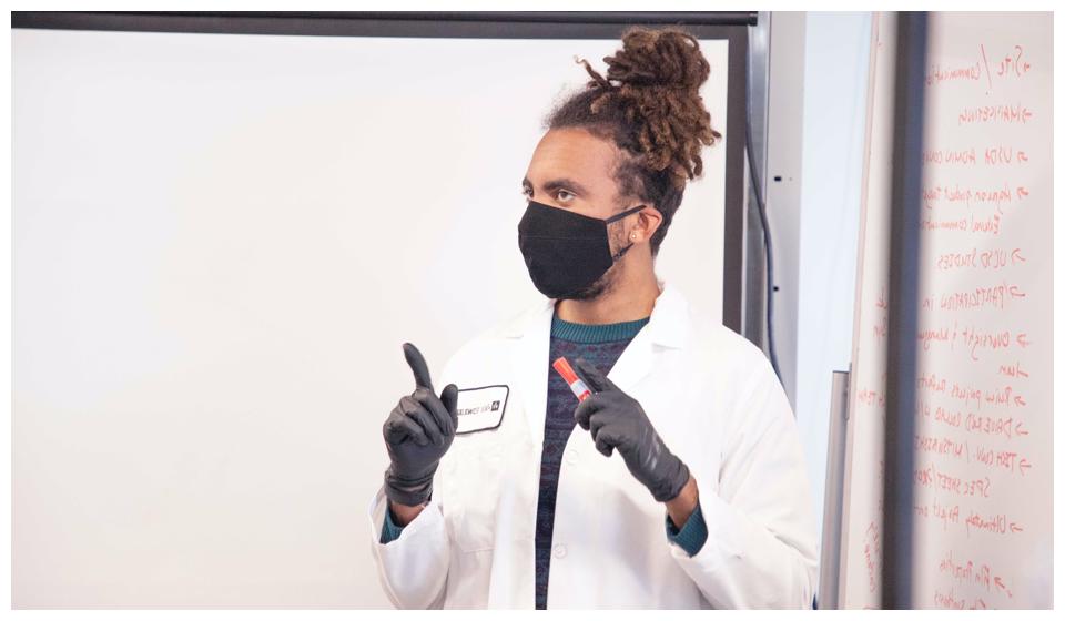 scientist wearing a face mask