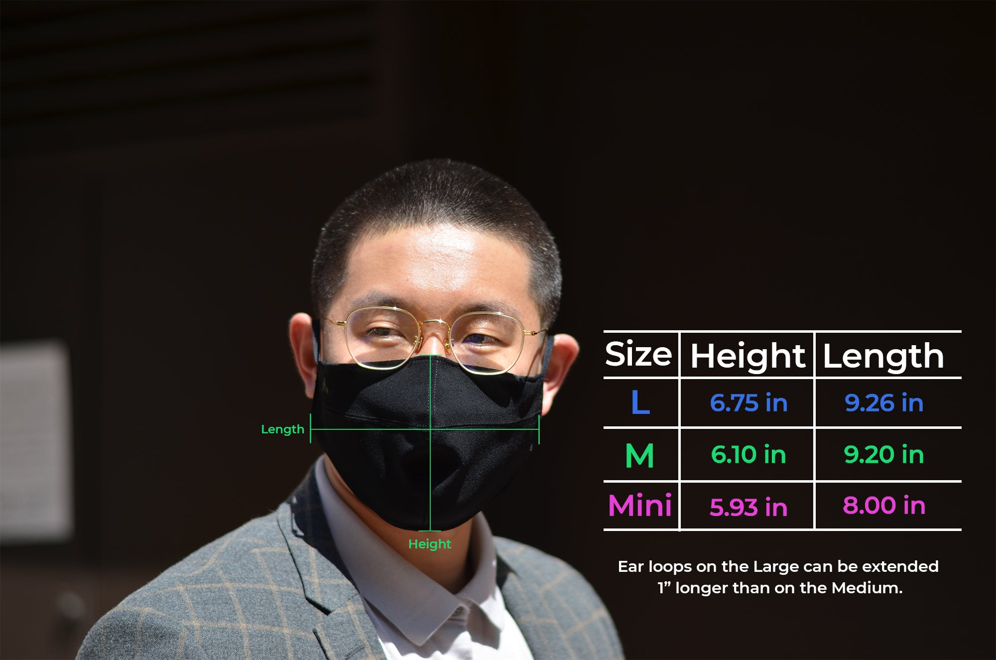 man wearing a face mask with sizing chart
