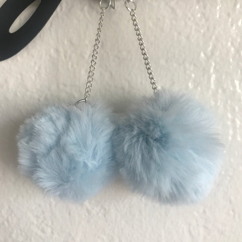 CUSTOM baby blue puffball earrings