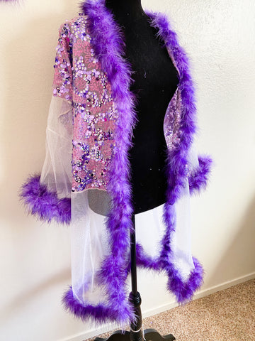 Purple sequin cover up