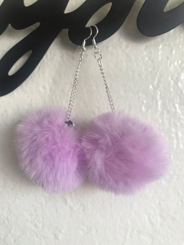 CUSTOM lavender puffball earrings