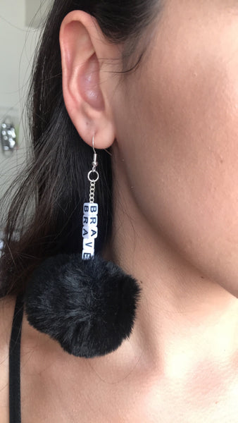 CUSTOM black puffball earrings
