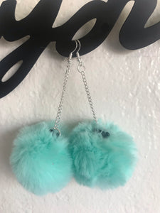 CUSTOM sea foam puffball earrings