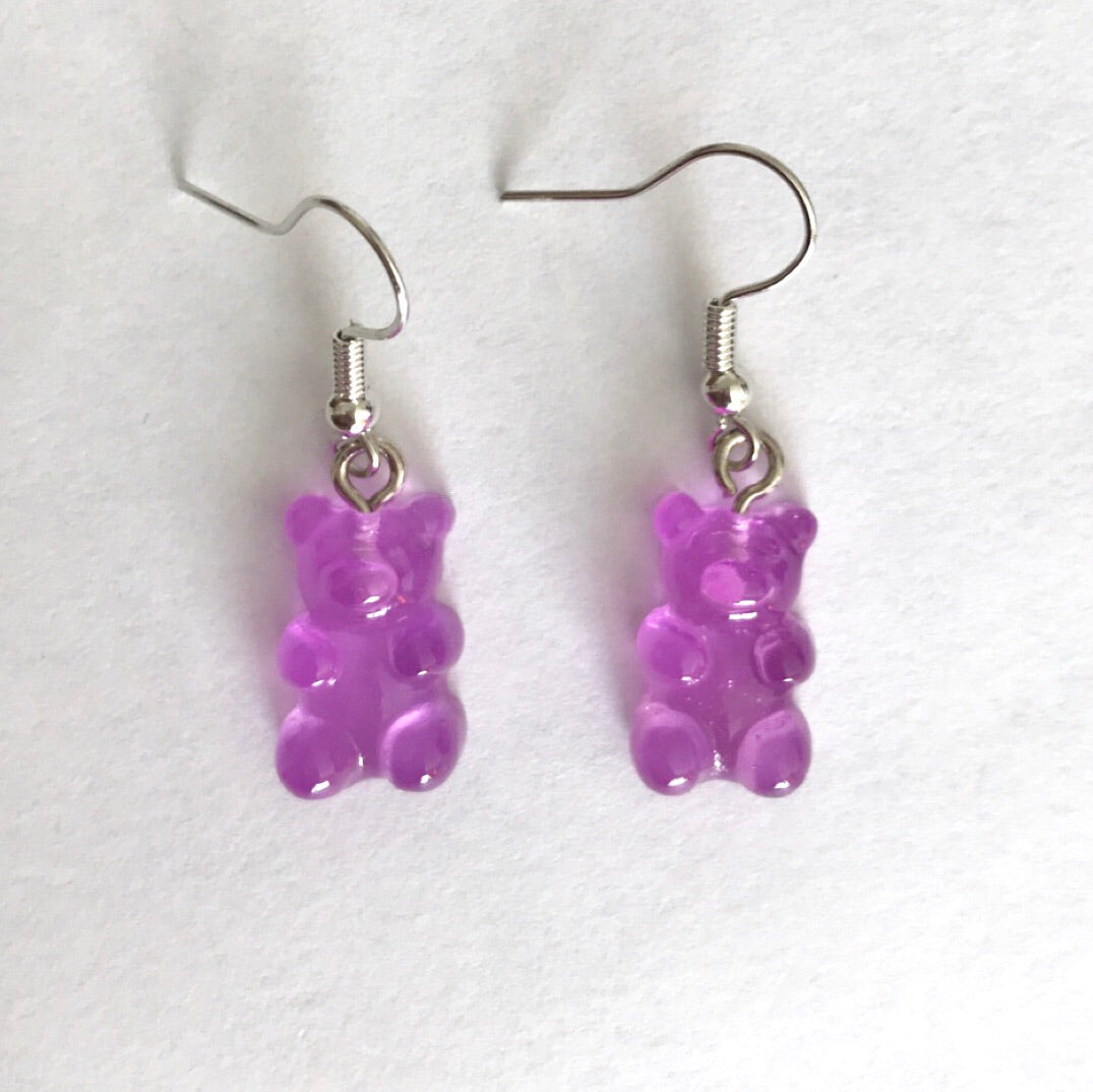 Purple gummy bear earrings