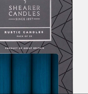 Teal Blue 8 inch Rustic Baton Dinner Candles by Shearer Candles