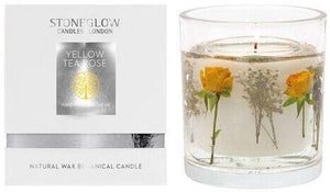 Nature's Gift Yellow Tea Rose Natural Wax Gel Candle Vase with Gift Box