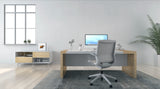 Memphis in a home office. White frame, white mesh backrest and seat.
