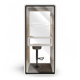 Mikomax Hush Phone Booth - White Exterior with Grey Interior