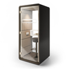 Mikomax Hush Phone Booth - Black Exterior with Grey Interior