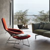 Knoll Bertoia Bird Chair with Ottoman - Red