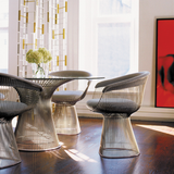 Knoll Platner Side Chair - Bronze Frame, Brown Fabric