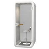 Vanguard Office Phone Booth - White Exterior with Light Grey Interior