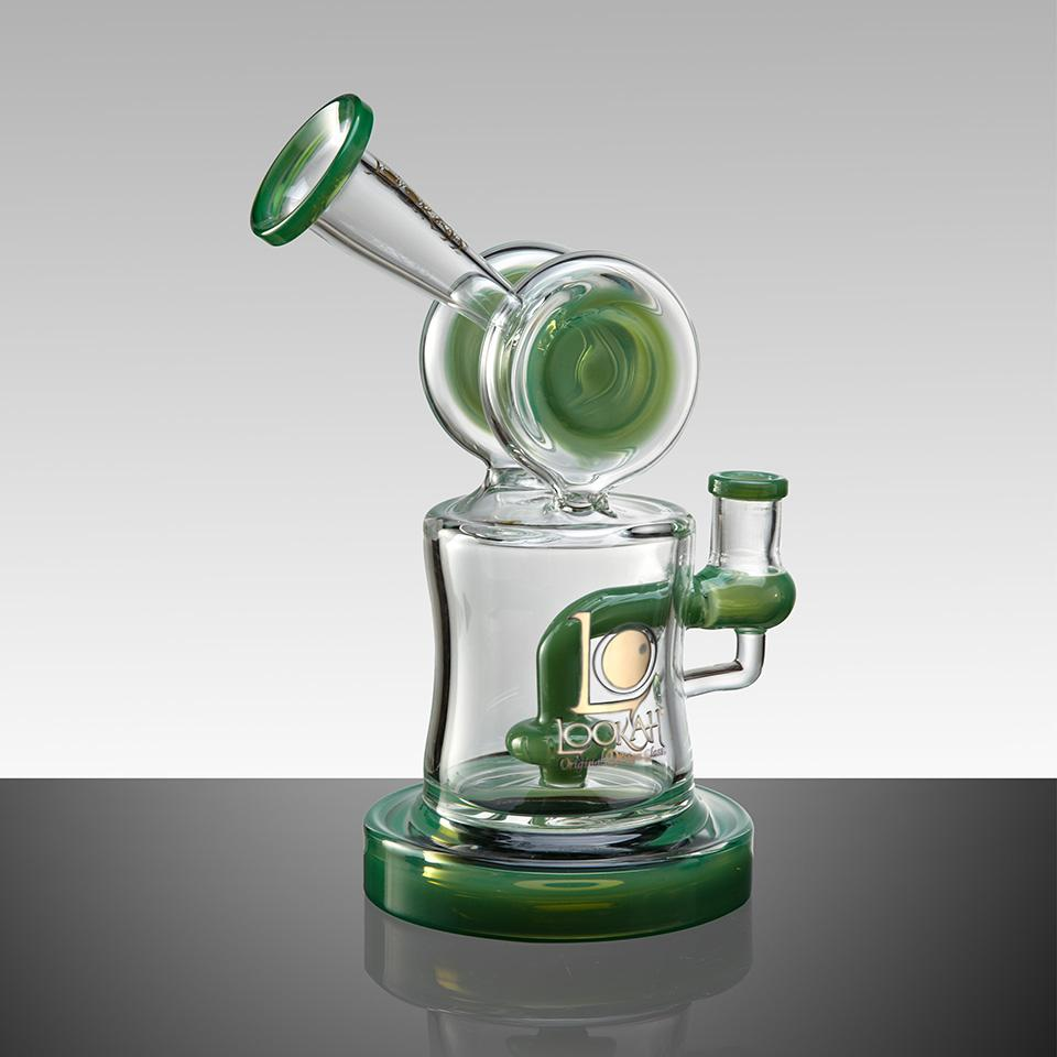 "WPC735 7.8"" LOOKAH RECYCLE BENT NECK OIL RIG GLASS WATER PIPE - LOOKAHGLASS"