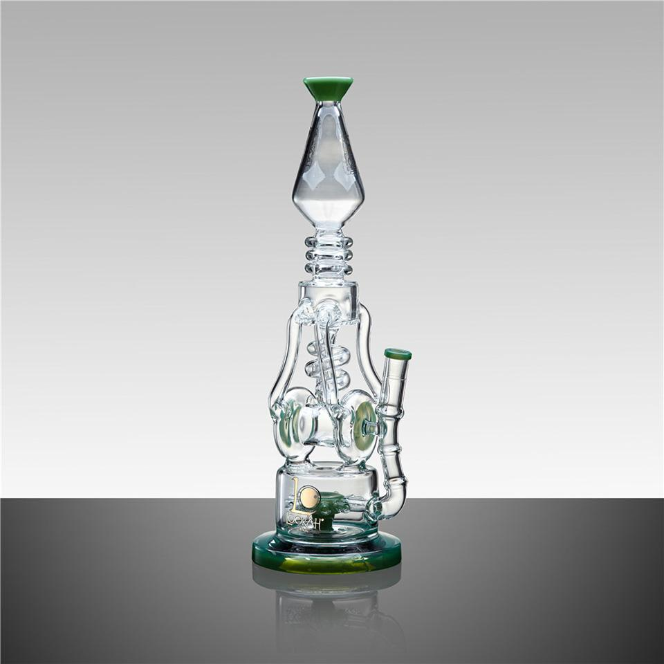 "WPC749 16"" LOOKAH RECYCLE BENT NECK OIL RIG GLASS WATER PIPE - LOOKAHGLASS"