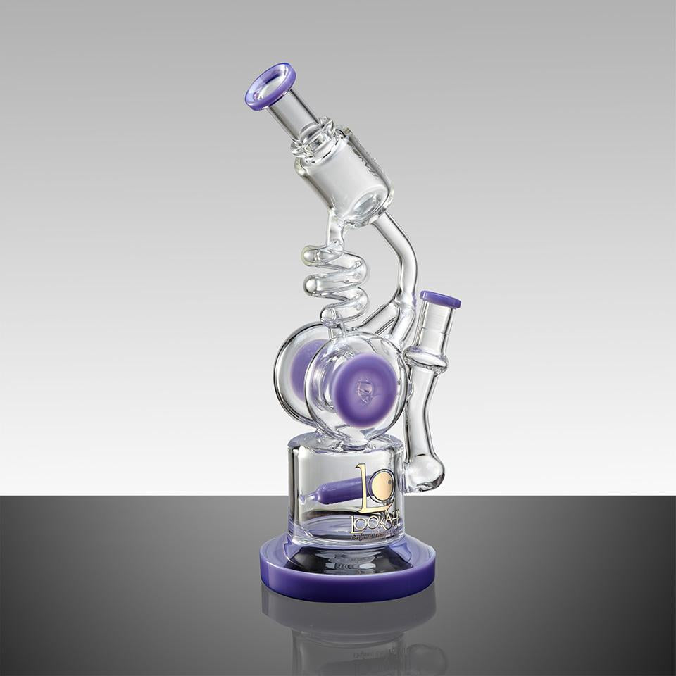 "WPC737 10.5"" LOOKAH RECYCLE BENT NECK OIL RIG GLASS WATER PIPE - LOOKAHGLASS"