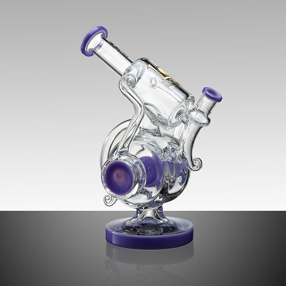 "WPC740 9.8"" LOOKAH RECYCLE BENT NECK OIL RIG GLASS WATER PIPE - LOOKAHGLASS"