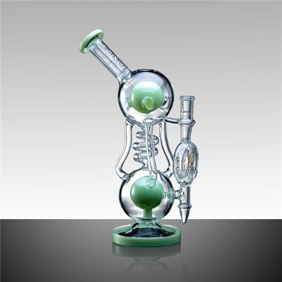 "WPC730 12"" LOOKAH RECYCLE BENT NECK OIL RIG GLASS WATER PIPE - LOOKAHGLASS"