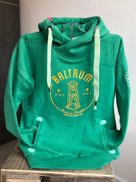 "Baltrum Damen Hoodie 2020 ""Mint mit orange"""