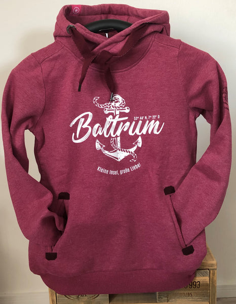 "Baltrum Damen Hoodie Anker Vintage ""in Berry"""