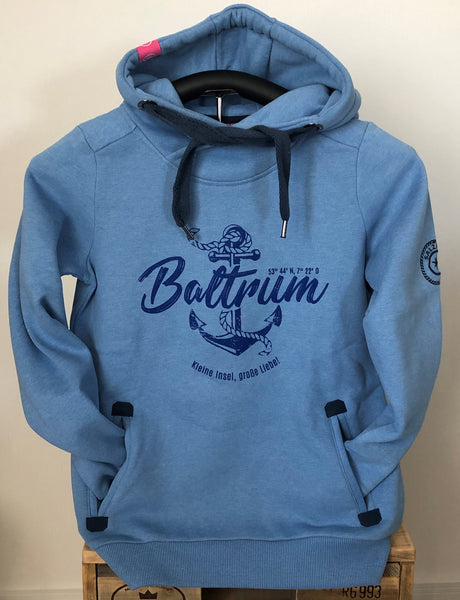 "Baltrum Damen Hoodie Anker Vintage ""in Ice Blue"""