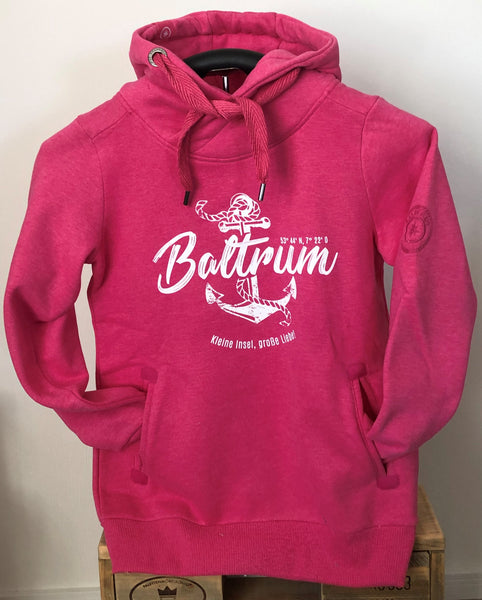 "Baltrum Damen Hoodie Anker Vintage ""in Pink"""