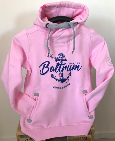 "Baltrum Damen Hoodie Anker Vintage ""in Rose"""