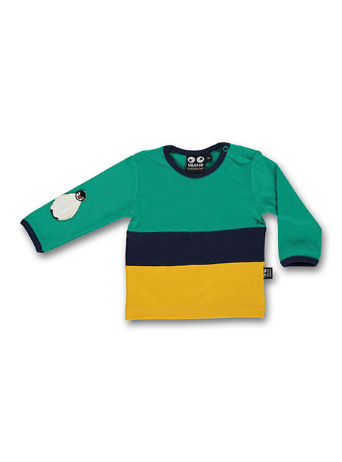 UBANG Baby t-shirt in emerald, black and yellow. It has a penguin appliqué on the sleeve.