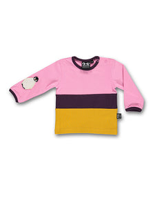 UBANG long-sleeved t-shirt in pink and yellow. It has a penguin appliqué on the sleeve and buttons at the shoulder.