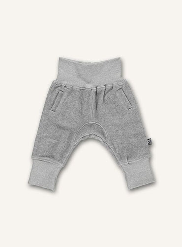 UBANG sweatpants for babies in grey. They have an elasticated waist.