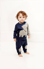 Load image into Gallery viewer, Baby Elephant Tee + baby pants. A set in dark navy blue