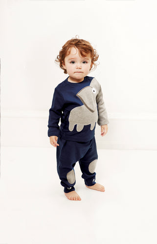 Baby Elephant Tee + baby pants. A set in dark navy blue