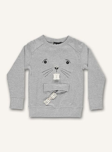 UBANG long-sleeved t-shirt in grey with a beaver motif on the front.