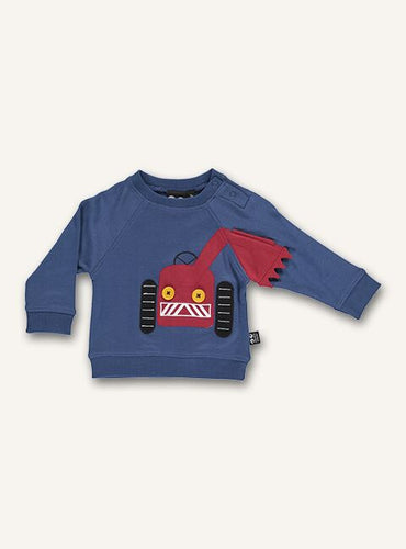UBANG long-sleeved t-shirt in dark blue. It has a red tractor on the front.