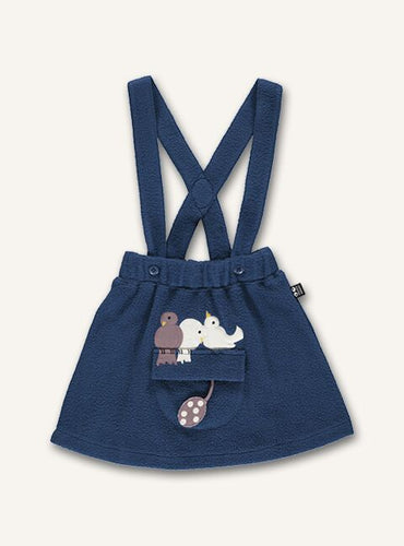 UBANG skirt with suspenders in dark blue. It has a pocket and three birds on the front.