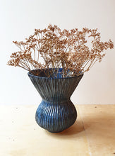 Load image into Gallery viewer, Wide hand built blue vase