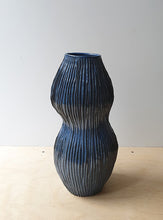 Load image into Gallery viewer, Organic shaped hand built blue vase