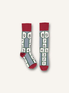 UBANG hopscotch socks in grey, red and white.