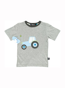 Tractor tee - light grey melange - STOCK SALE