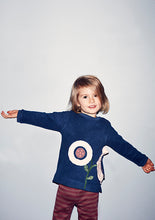 Load image into Gallery viewer, Baby flower organic sweatshirt - Dark denim - STOCKSALE
