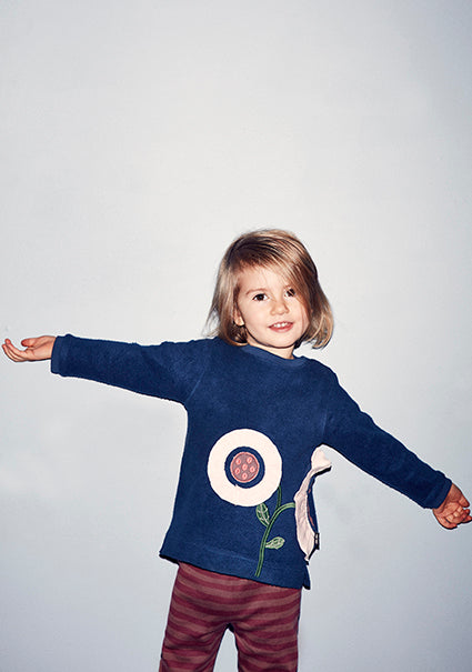 Baby flower organic sweatshirt - Dark denim - STOCKSALE