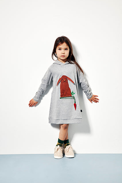 Rabbit Hooded Dress - Grey Melange - stocksale