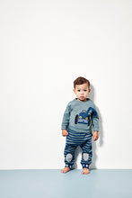 Load image into Gallery viewer, UBANG baby t-shirt with long sleeves. It is dark grey with a blue tractor on the front.