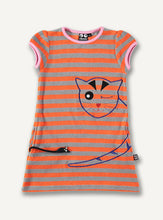 Load image into Gallery viewer, Cheeky Cat dress, orange stripe - STOCK SALE
