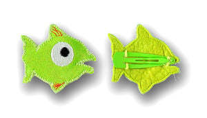 UBANG fish hairclips in lime green. It is a hairclip with a fabric appliqué shaped like a fish.