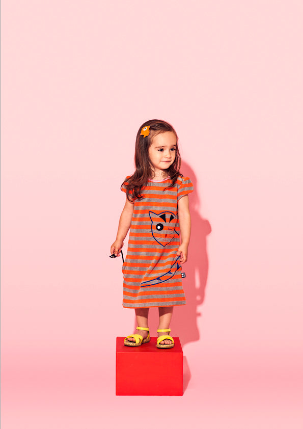 Cheeky Cat dress, orange stripe - STOCK SALE