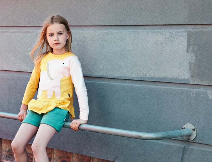 Elephant Frill Tee -  yellow/pink - SAMPLE SALE 4 YR